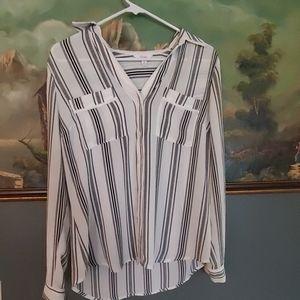 Candies button down top shirt black & white casual